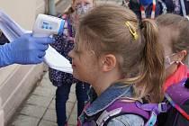 Měření teploty u vstupu do základní školy v květnu 2020. Ilustrační foto
