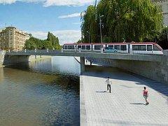 Vizualizace bermy mezi mosty na Komenského ulici a Masarykově třídě