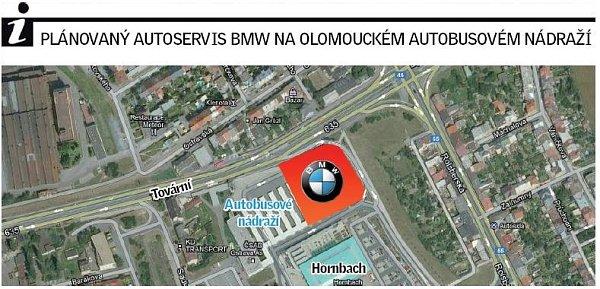 Chystané umístění autoservisu BMW vareálu autobusového nádraží Olomouc