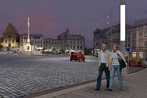 Vizualizace Dolního náměstí po rekonstrukci. Na obrázcích však ještě nejsou zachycené poslední drobné změny, které architekti provedli. Například osvětlení bude mít jiný tvar - kuželovitý a s tmavým nátěrem. Vizualizace: Studio Prak