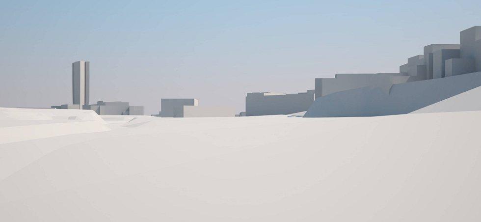Pohled od Michalského výpadu. Šantovka Tower na modelu Klubu architektů Olomoucka: