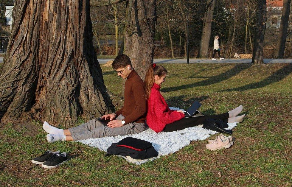 Bezručovy sady v Olomouci v pátek 26. března 2021