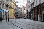 Masarykova ulice v centru Brna, sobota dopoledne 13. března 2021.