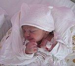 Eliška Dostálová, Třebíč, narozena 9. dubna v Olomouci, míra 51 cm, váha 3750 g