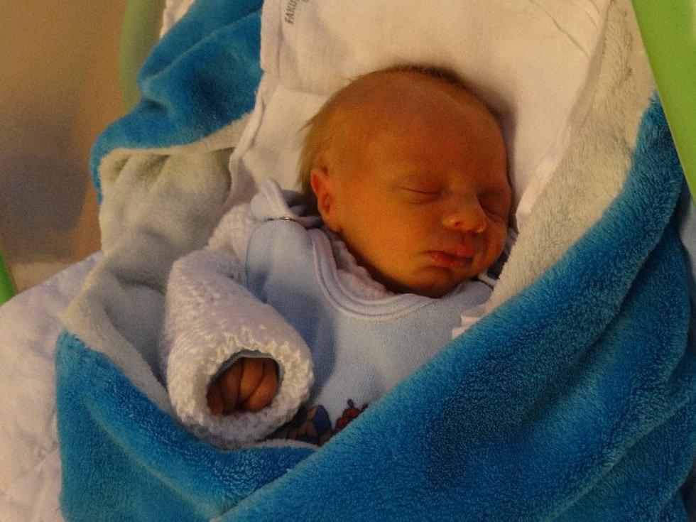 Adam Vyhnálek, Olomouc, narozen 18. ledna, míra 48 cm, váha 2120 g