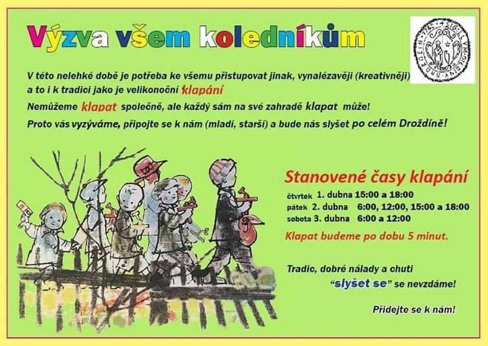 Klapači, kteří nahrazují vyzvánění kostelních zvonů, vyrazili v Olomouci-Droždíně i letos. Na zahradách u rodinných domů.