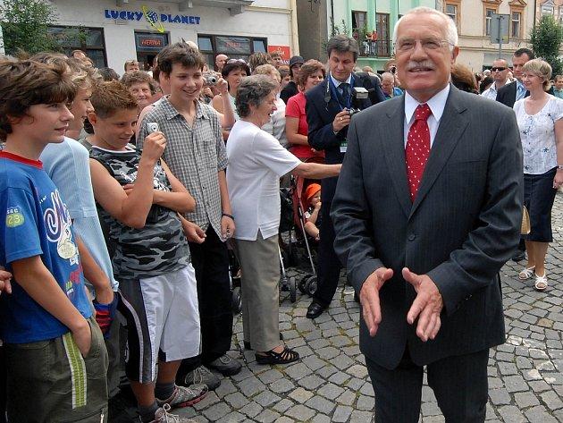 Václav Klaus šťastný.