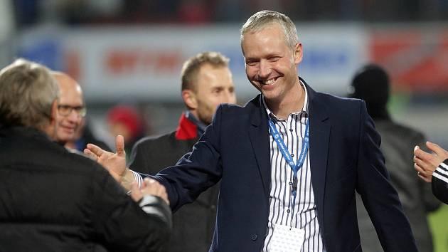 Trenér Sigmy Václav Jílek si užívá vítězství nad Spartou