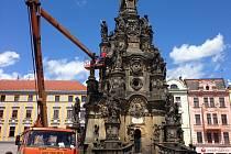 Olomoucká radnice spolu s památkáři prověřuje stav Sloupu Nejsvětější Trojice, památky zapsané mezi světové dědictví UNESCO