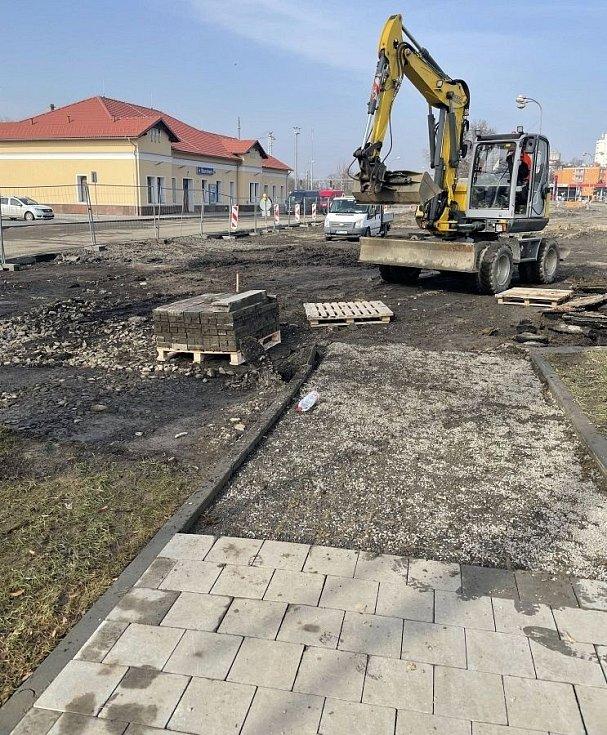 Přednádražní prostor ve Šternberku, 24. února 2021