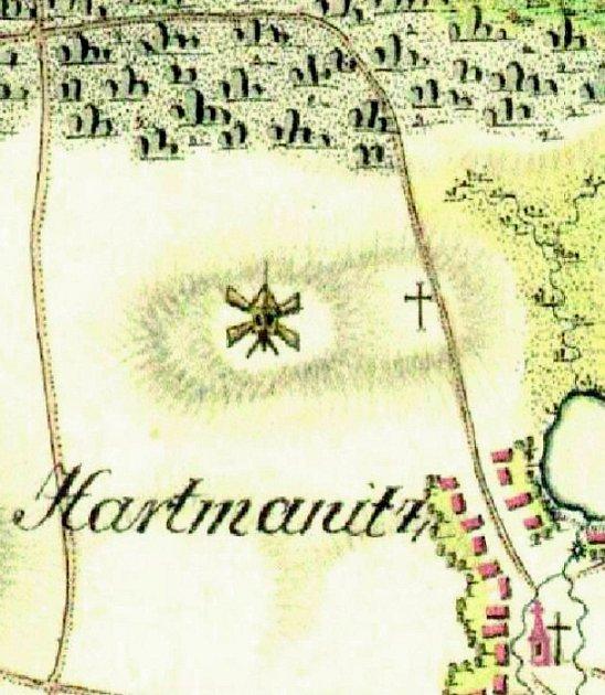 Větrný mlýn udnešní Nivy na mapě I. vojenského mapování.