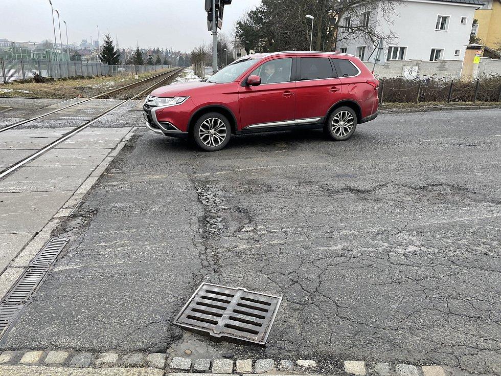 Olomouc, křižovatka U Anči, 19. února 2021