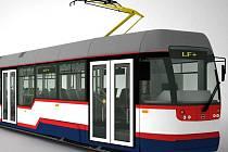 Tramvaj Vario LF+, která bude jezdit na trati na Nové Sady