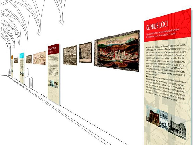 Vizualizace výstavy o olomoucké historii v gotické chodbě radnice