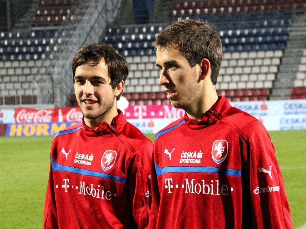 Martin Pospíšil a Tomáš Hořava na reprezentačním tréninku před listopadovým zápasem mezi Českem a Slovenskem