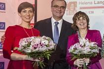 Listopad 2015: nové místopředsedkyně TOP09 Jitka Chalánková (vpravo) a Markéta Adamová s Miloslavem Kalouskem