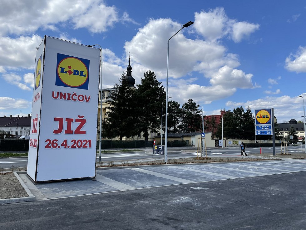 Nová prodejna společnosti Lidl v Uničově, 25. dubna 2021
