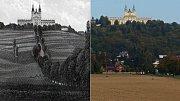 Alej na Svatý Kopeček kolem roku 1890 (vlevo) a nyní