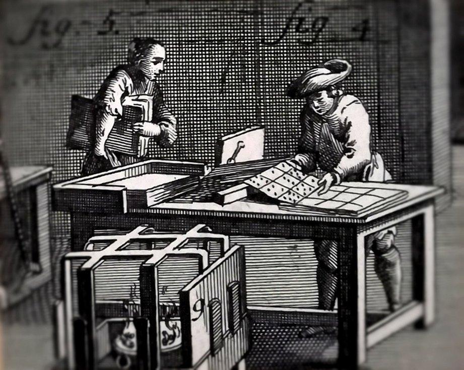 Kartářská dílna – stříhání karet (Livorno, 1772)