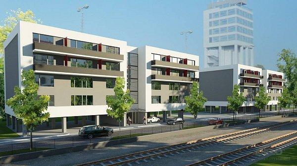 Nová Litovelská - vizualizace projektu mezi nádražím Olomouc-město a budovou Silo Tower