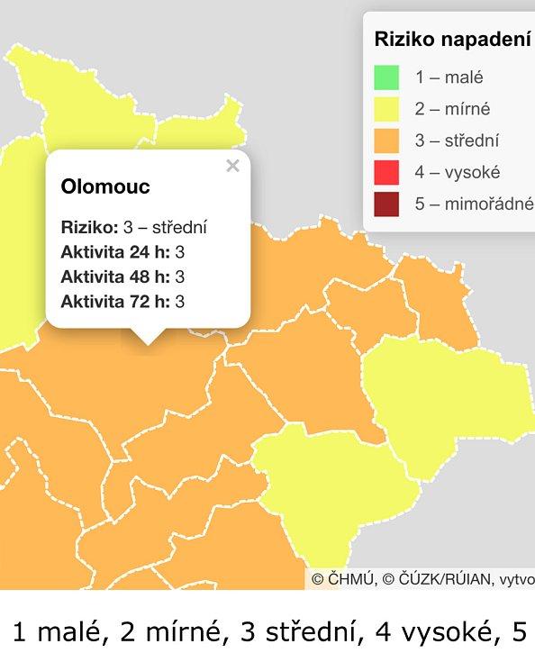 Aktivita klíštěte na Olomoucku, Přerovsku a Prostějovsku je na stupni 3. Roste.