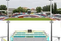Jižní tribuna Androva stadionu - stará montovaná a podoba té nové