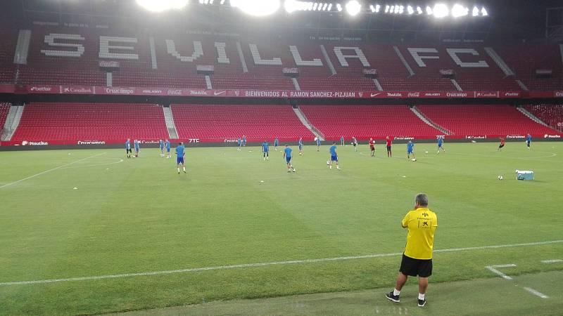 Olomoucká Sigma při tréninku na stadionu Sevilly FC