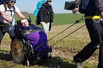 Olomoučtí poutníci do Compostely s Milanem Langerem (na vozíku)