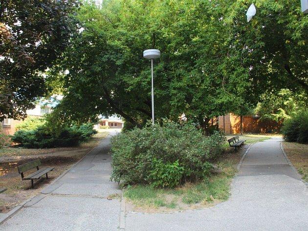 Zanedbaný parčík v Janského ulici na olomouckém sídlišti Povel