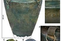 Bronzové vědro z 9. století před naším letopočtem, které v roce 2017 objevil tým archeologů u Kladiny na Pardubicku.