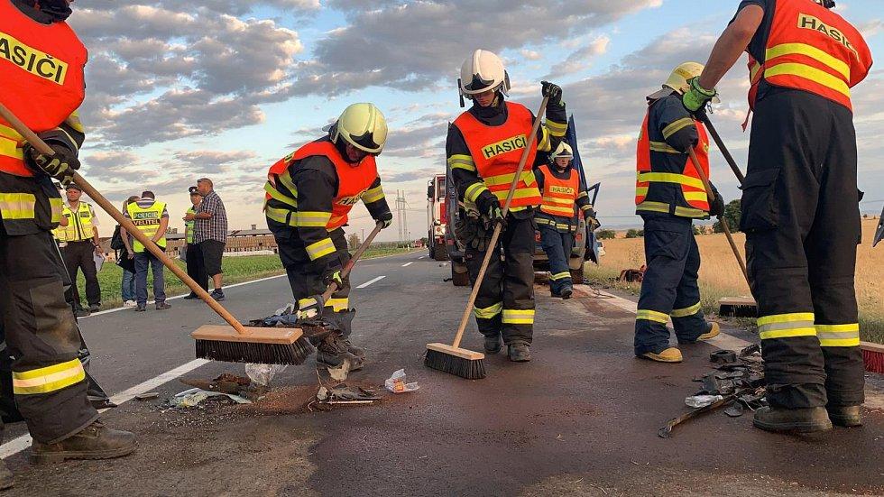 Následky tragické bouračky u Dubu nad Moravou 11. července 2019