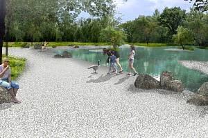 """Vizualizace parku Na Dlouhé v Olomouci - varianta s """"jezírkem"""""""