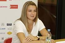 V Olomouci proběhla tisková konference před začátkem hlavní soutěže turnaje ITS Cup s dotací 50 000 dolarů. Karolína Muchová.