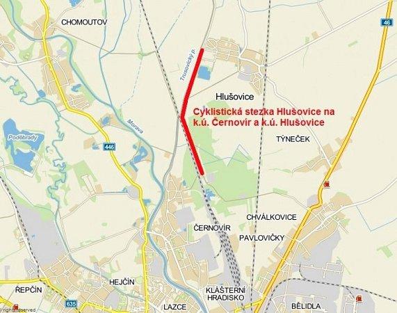Trasa cyklostezky zČernovíra do Hlušovic