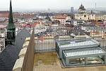 Nová vyhlídka na jižní věži chrámu sv. Mořice v Olomouci. Leden 2021