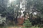 Požár štěpky v Kozlově na Olomoucku