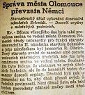 Článek z olomouckého Moravského večerníku ze 16.3.1939