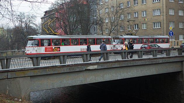Tramvaje na mostech v Masarykově třídě