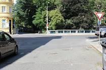 Místo srážky osobního auta s cyklistou v Olomouci 11. 7. 2019