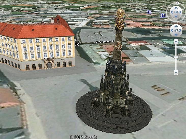 Aplikace na turistickém portálu Olomouce ukazující památky ve 3D