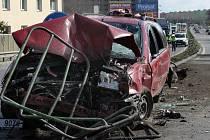 Úterní nehoda ve Velkomoravské ulici v Olomouci.