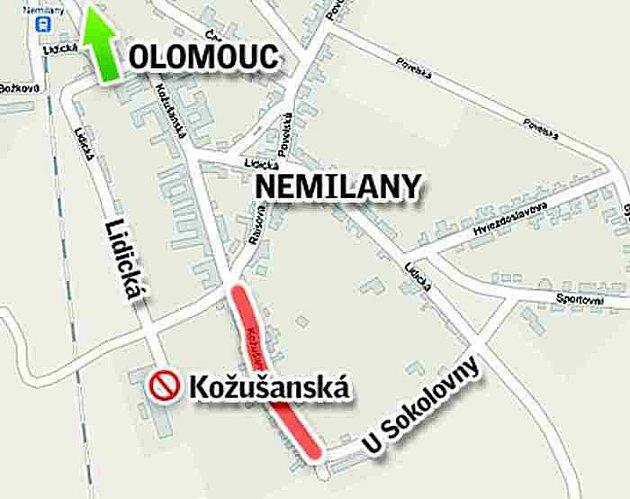 Uzavírka Kožušanské ulice