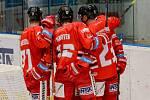 Olomoučtí hokejisté se radují z branky do sítě Vítkovic.