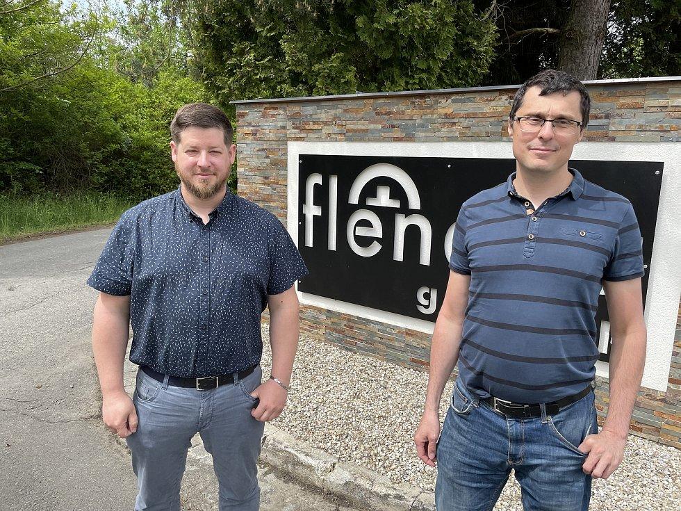 Aleš Horák (vlevo) a Michal Netolický, Flenexa, aquaponická farma Přáslavice