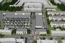 Vizualizace obchodního centra a bytových domů na Šibeníku