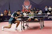 V Olomouci začala hlavní soutěž prestižního mezinárodního podniku Czech Open ve stolním tenise. Omar Assar, Egypt (vlevo), za stolem Timo Boll, Německo