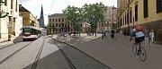 Vizualizace návrhu náměstí Republiky ve variantě se třemi stromy v ploše. Stromy s lehkou, nepříliš hustou korunou vytvářejí pobytové centrum náměstí