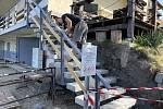 Na Poděbradech probíhají úpravy, na snímku rekonstrukce schodiště Terasy, 13. září 2021