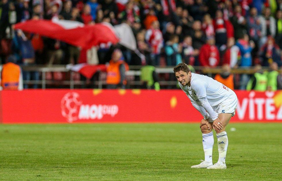Finále fotbalového poháru MOL Cupu, Baník Ostrava - Slavia Praha 22.května 2019 v Olomouci. Adam Jánoš zBaníku Ostrava.