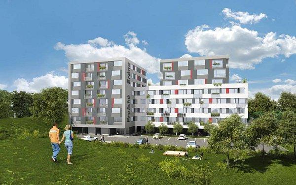 Pražská brána - vizualizace bytového domu mezi výpadovkou na Mohelnici a hypermarketem Globus